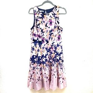 Maggy London Navy Sleeveless Floral Dress Size 14